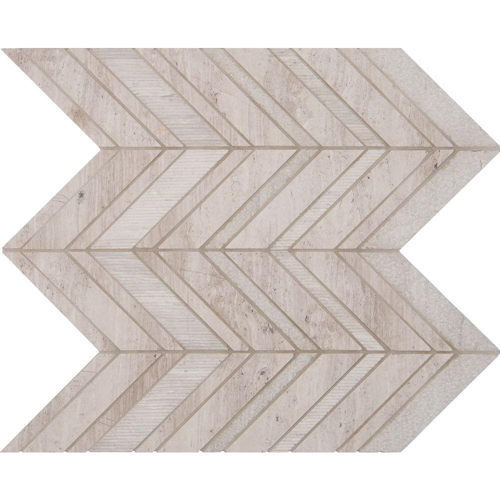 Msi White Quarry Chevron 12 In X 12 In X 10mm Natural Marble Mesh Mounted Mosaic Tile 10 Sq Ft Case Wq Chevron Wall Tiles Chevron Tile Mosaic Tiles
