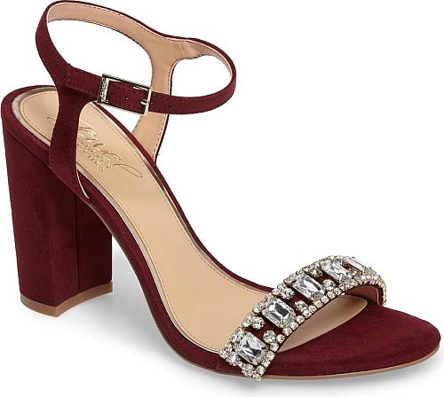 Embellished Block Heel Sandal in Wine