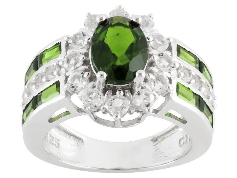 Fine Jewelry Genuine Green Quartz and White Topaz Sterling Silver Ring ZG3xuAlgTG