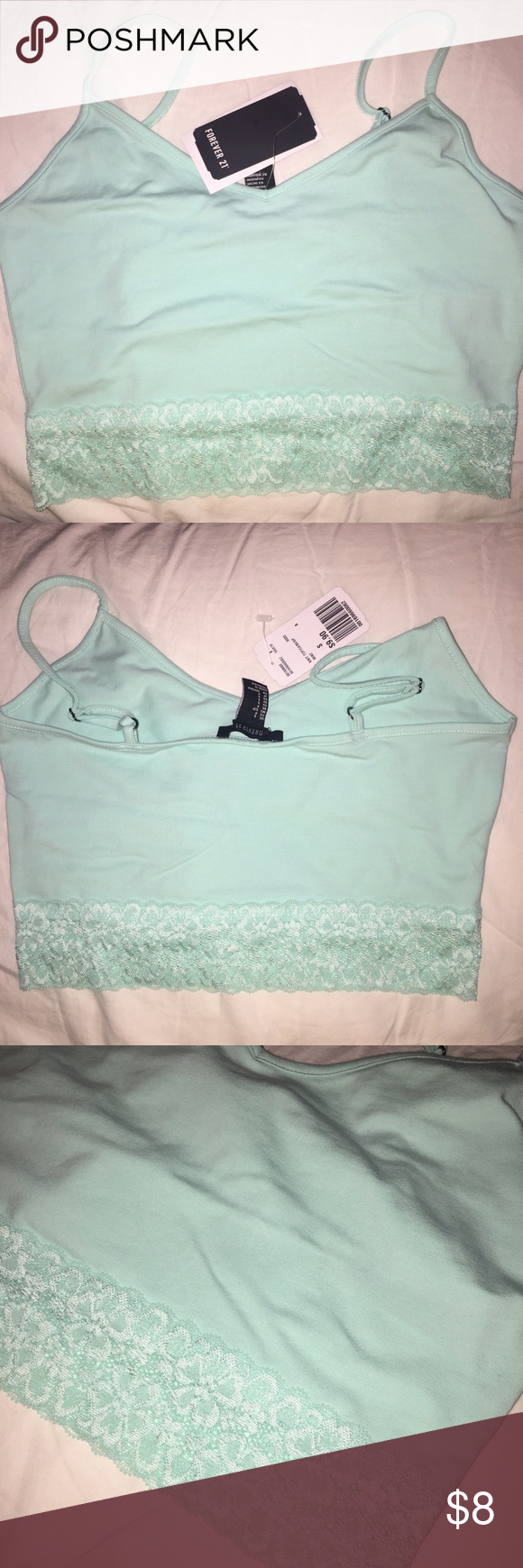 Bandeau Mint green bandeau with floral lace at the bottom. Never been worn Forever 21 Intimates & Sleepwear Bandeaus