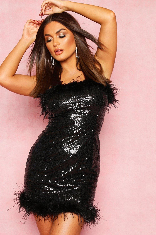 Sequin Feather Trim Mini Dress Boohoo Mini Dress Mini Black Dress Dresses [ 1500 x 1000 Pixel ]