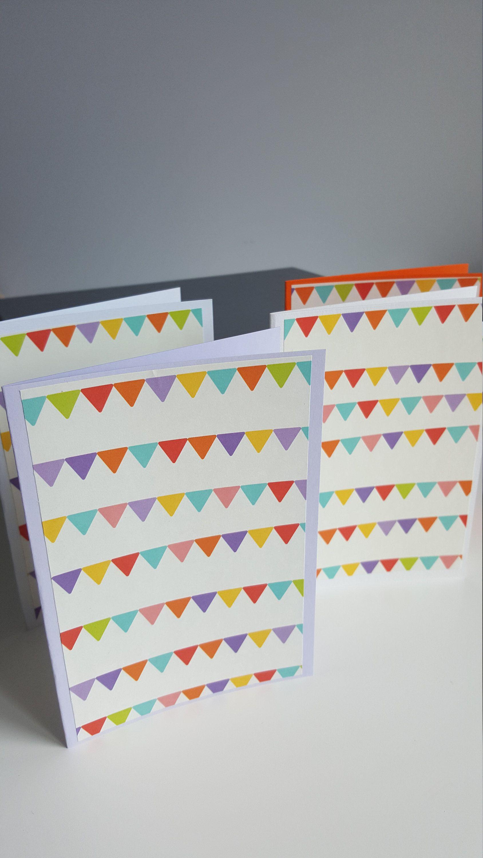 rainbow bunting cards handmade blank cards children's