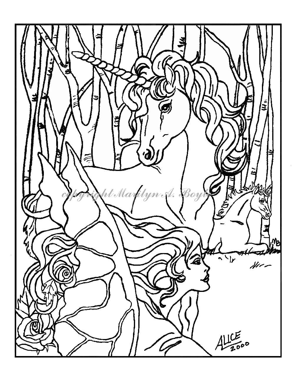 coloring pages set of five digital downloads fantasy
