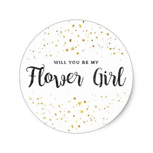 Will You Be My Flower Girl Golden Sparkle Classic Round Sticker @zazzle #junkydotcom Aug 7 2016  2x