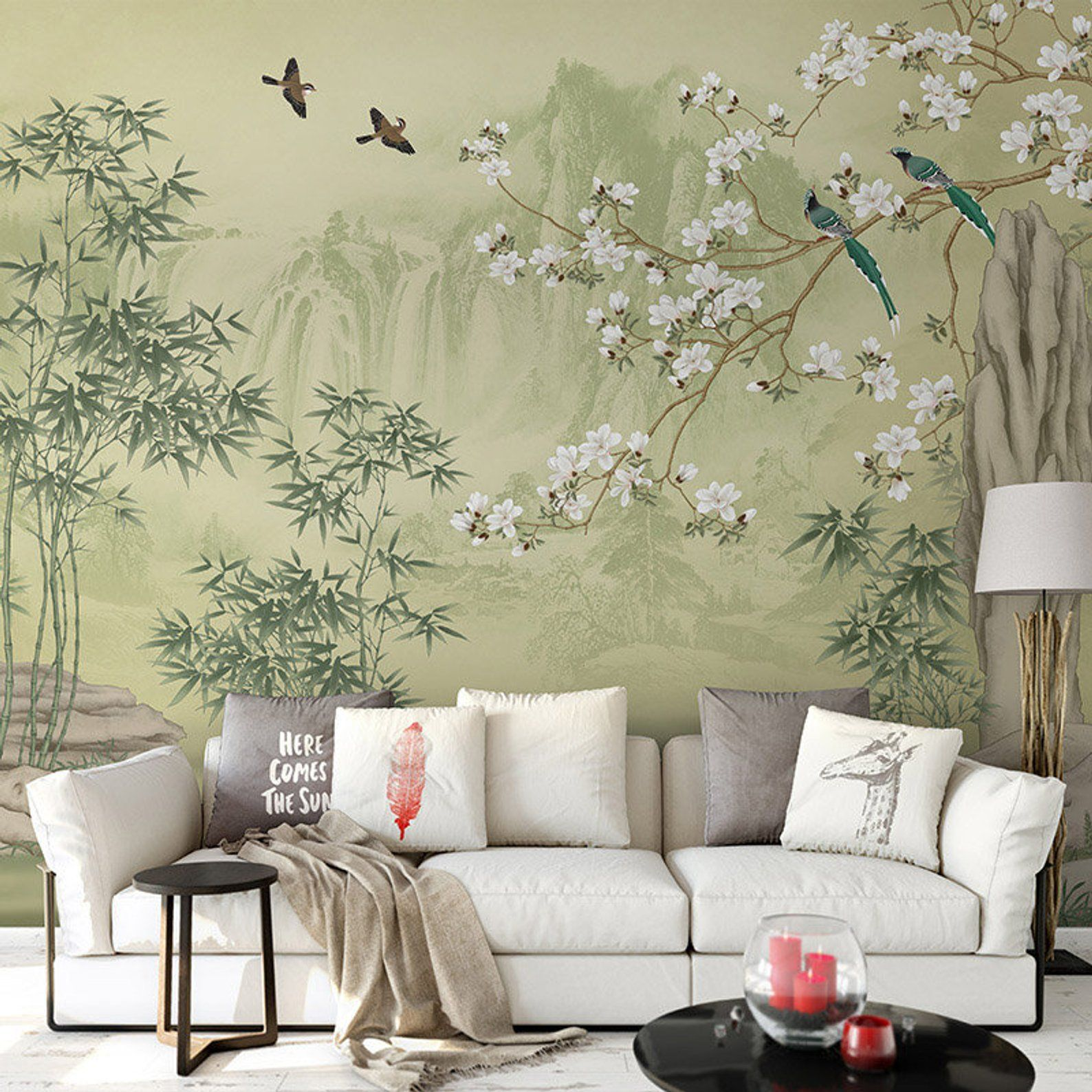 Lemon Green Landscape Scenic Wallpaper Wall Mural Moutains Trees Bamboo Birds Flowers Wall Decal Bedroom Living Room Wallpaper With Images Scenic Wallpaper Wall Wallpaper Wallpaper Living Room