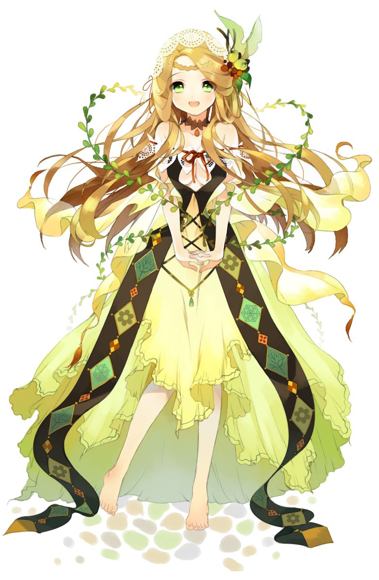 Anime Characters Yellow Hair : Anime girl with blonde hair green eyes yellow dress