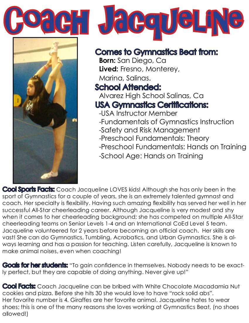 Jacqueline ortiz coach gymnastics beat fresno ca