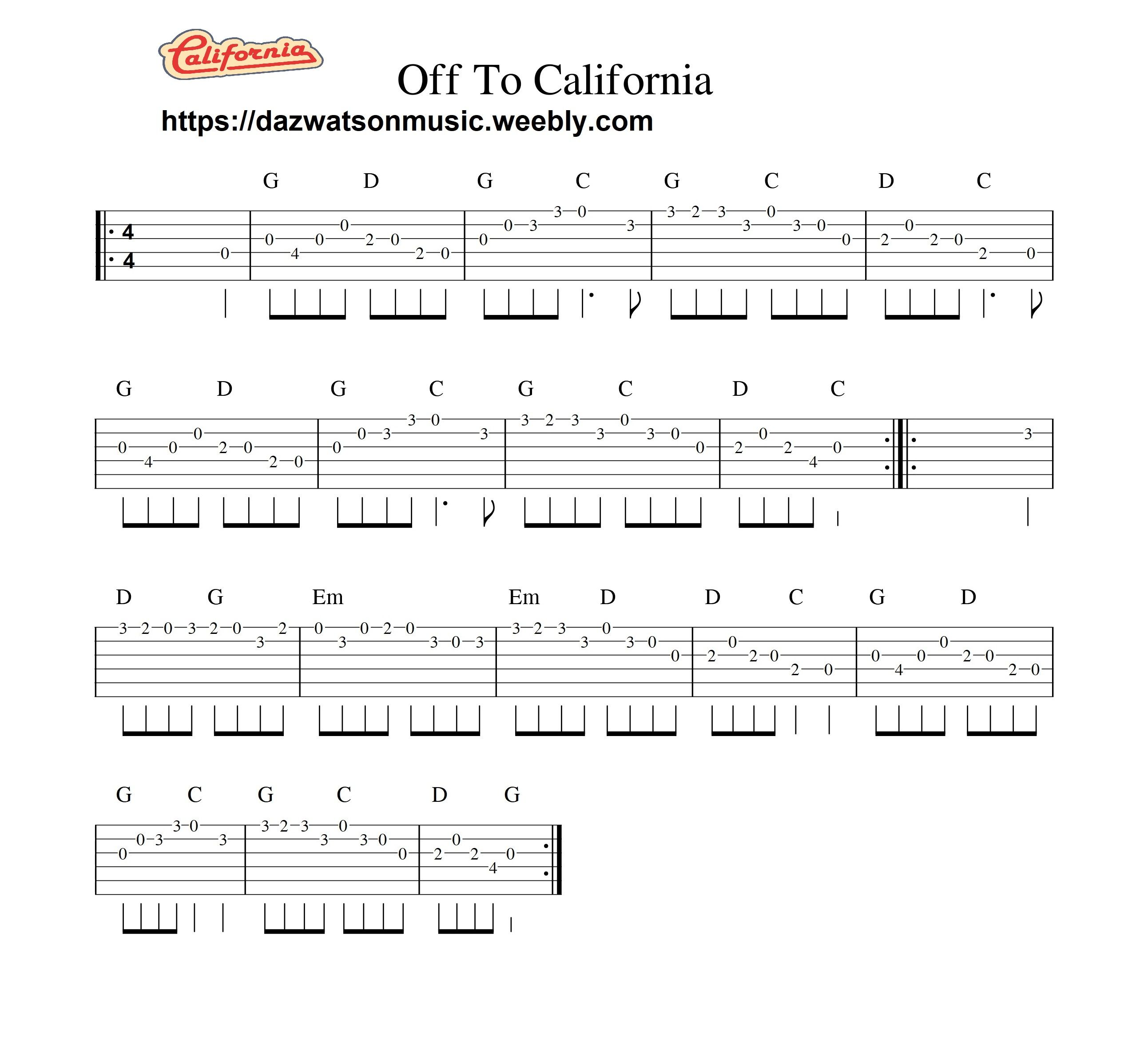Off To California Easy Guitar Tab Guitar Tabs Guitar Tabs Songs Easy Guitar Tabs
