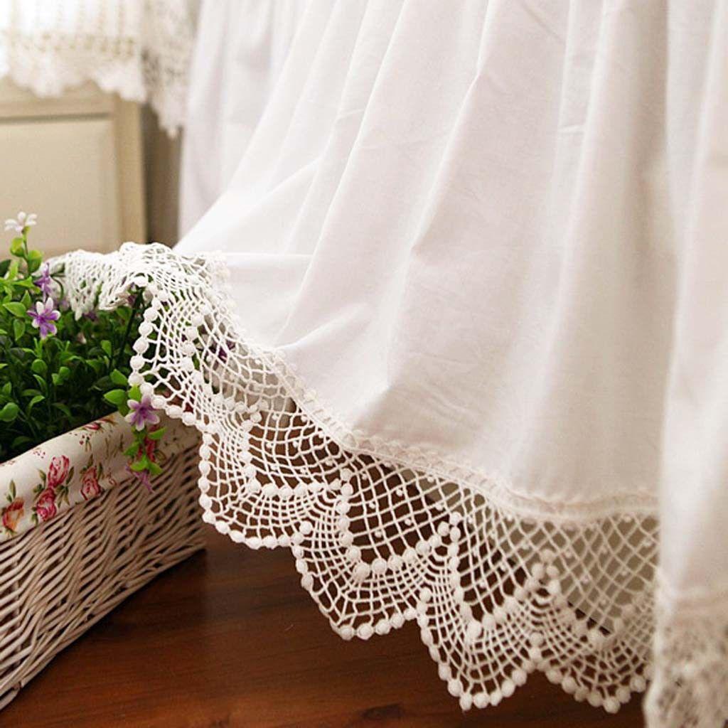 White Cotton Lace Bedskirt Lace Bedding Set Bedskirt Lace Bedding