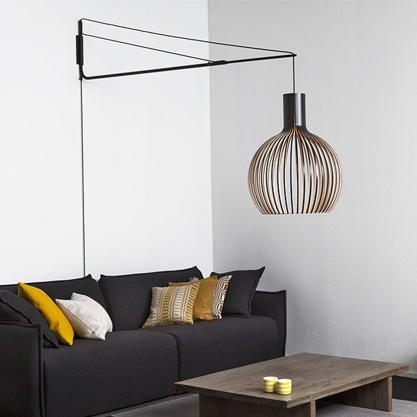 Woodnotes beach paper yarn carpet secto design wooden lamp interior and photo by finnish design shop
