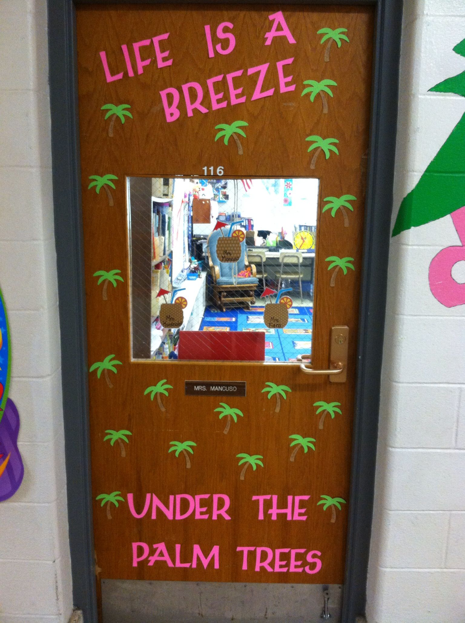 June Palm Trees Classroom door School Classroom Doors Bulletin