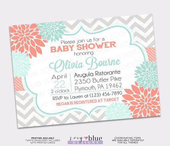 Floral Coral Mint Chevron Baby Shower Grey Chevron Aqua Turquoise