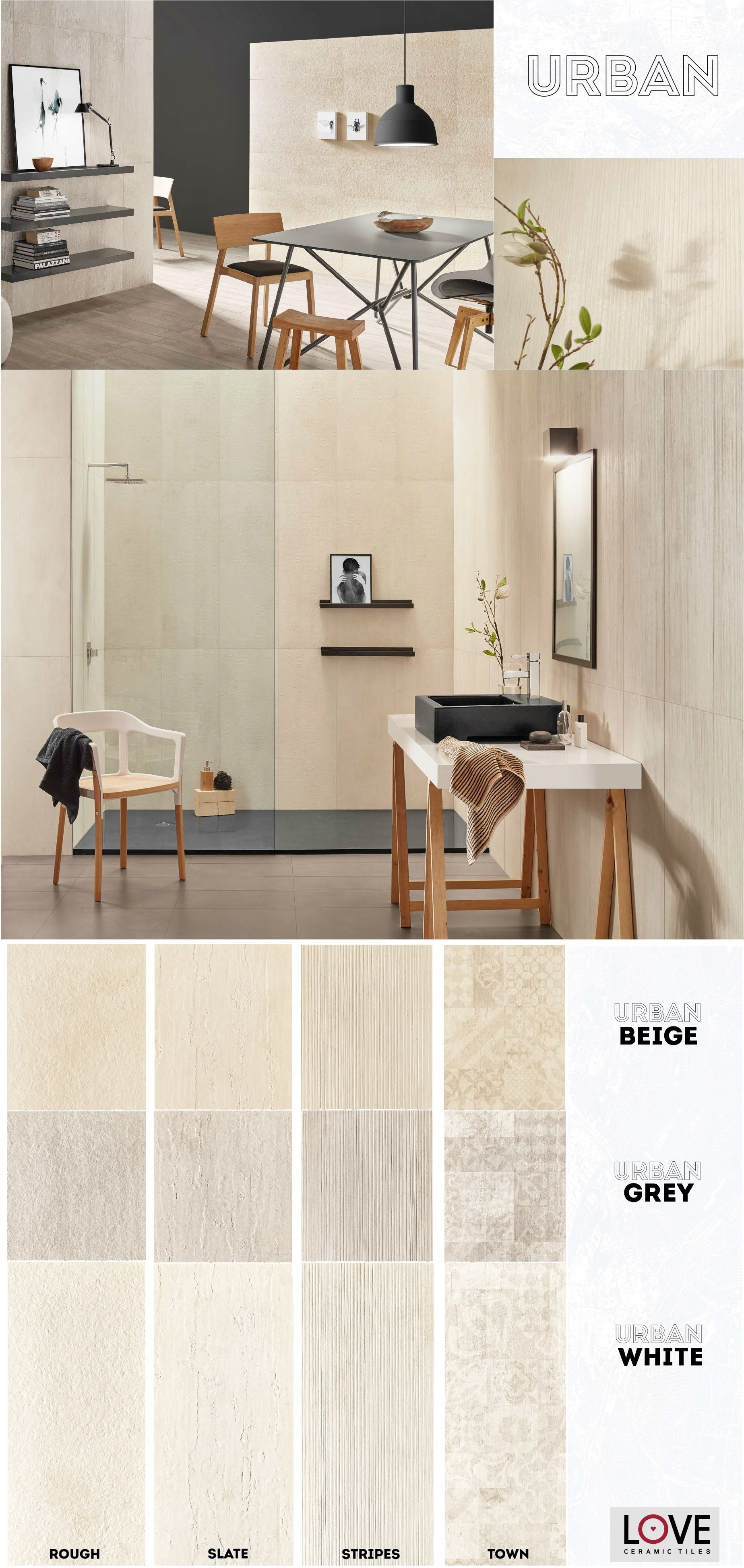 Urban collection rough slate stripes and town series for Carrelage urban white