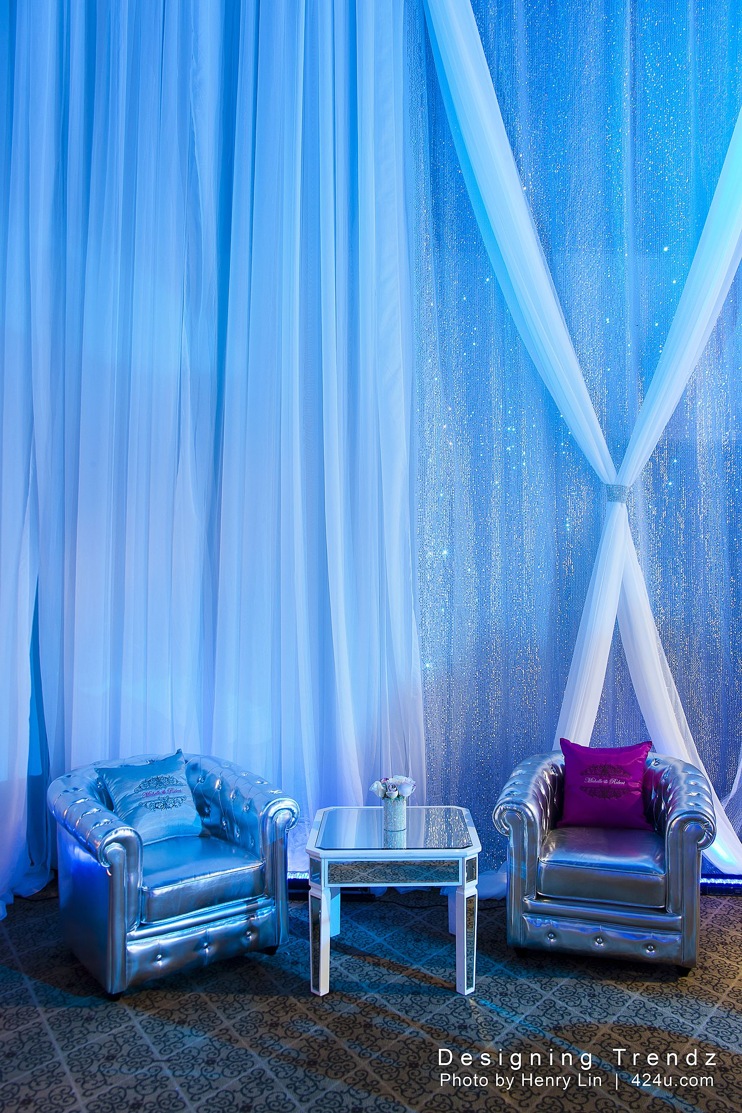 blue lighting with simple yet fun draping - by designing trendz