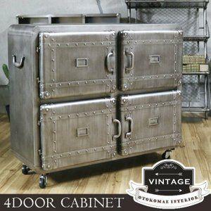 2021.8 Scheduled to arrive in mid-August Cabinet 4-door storage with casters Steel Industrial Men's Interior Men …