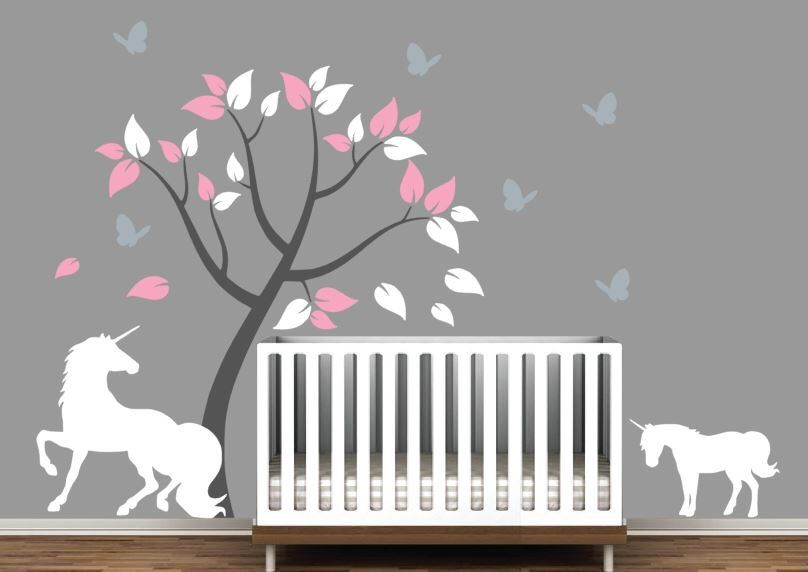 Nursery Tree Decal with Unicorn, Baby Unicorn, and Butterflies by DesignsByDelia09 on Etsy https://www.etsy.com/listing/464284241/nursery-tree-decal-with-unicorn-baby