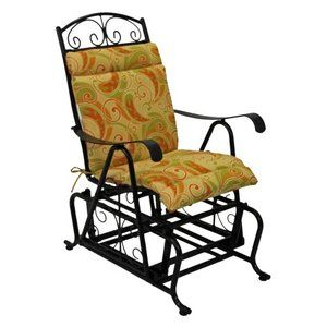 Blazing Needles Outdoor Glider Chair Hinged Seat Back Cushion Walmart Com Outdoor Glider Outdoor Glider Chair Glider Chair