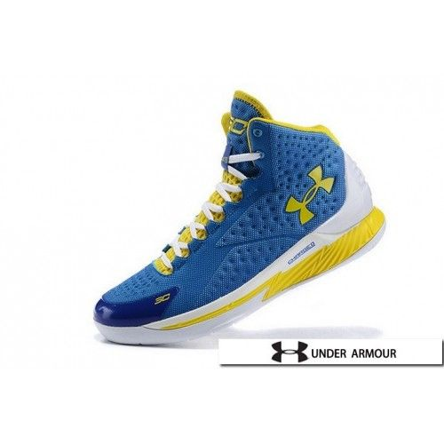UA Curry 1 - Womens Under Armour Curry 1 Home Blue Yellow White Shoes c9cb6ace52c9