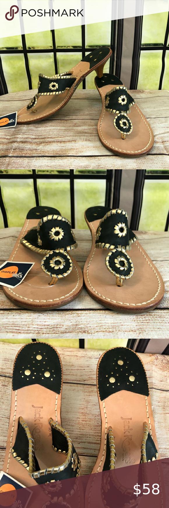Jack Rogers Black Gold Wooden Kitten Heel Sandals In 2020 Kitten Heel Sandals Sandals Heels Kitten Heels