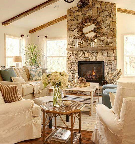 40 Best Cozy Farmhouse Living Room Lighting Lamps Decor: Rustic Meets Modern In This Beach Cottage.