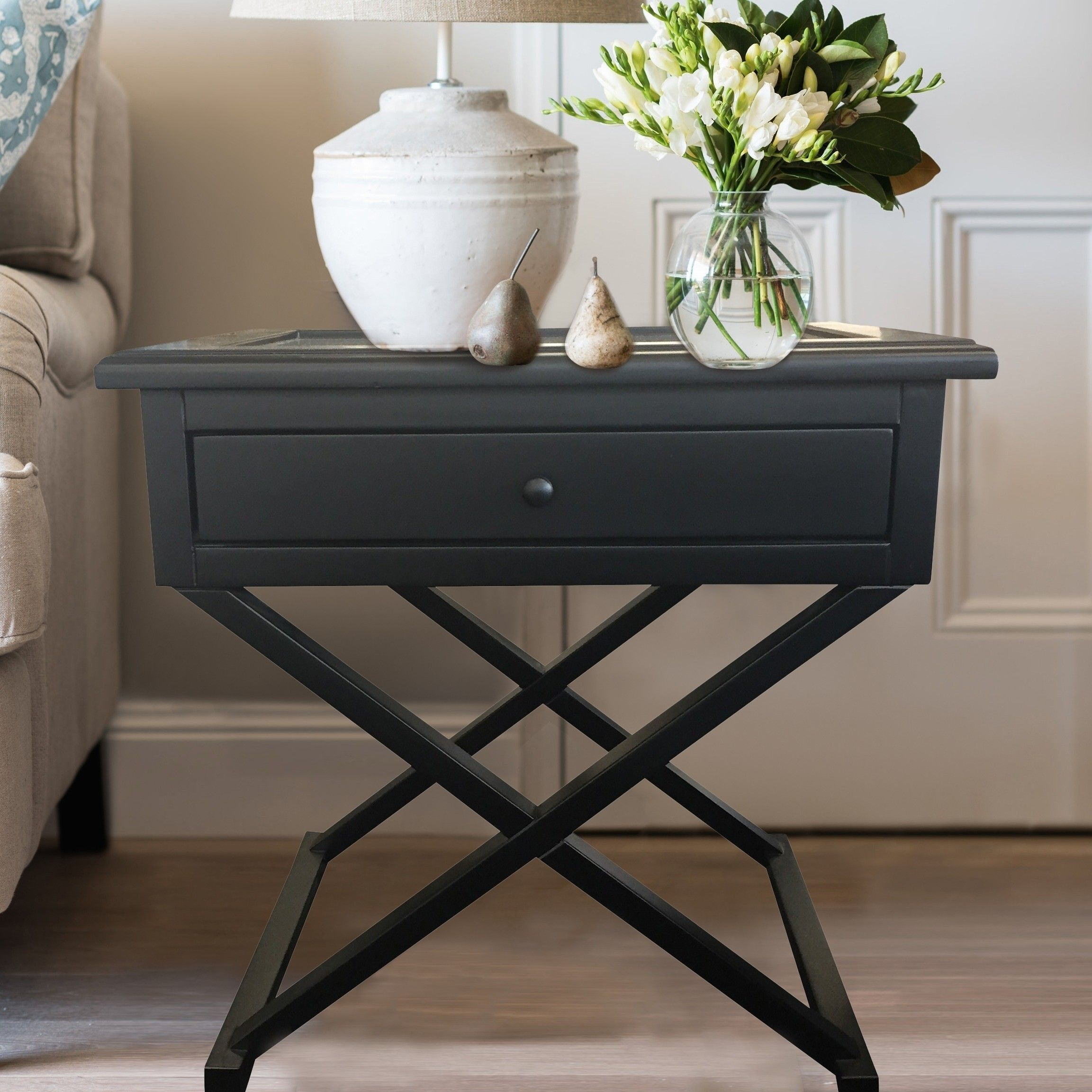 Black Cross Leg Side Table Small Bedside Table Black Side Table