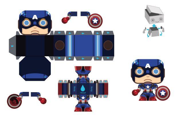 Blog Paper Toy papertoy Mini Captain America template preview Captain America Mini Papertoy