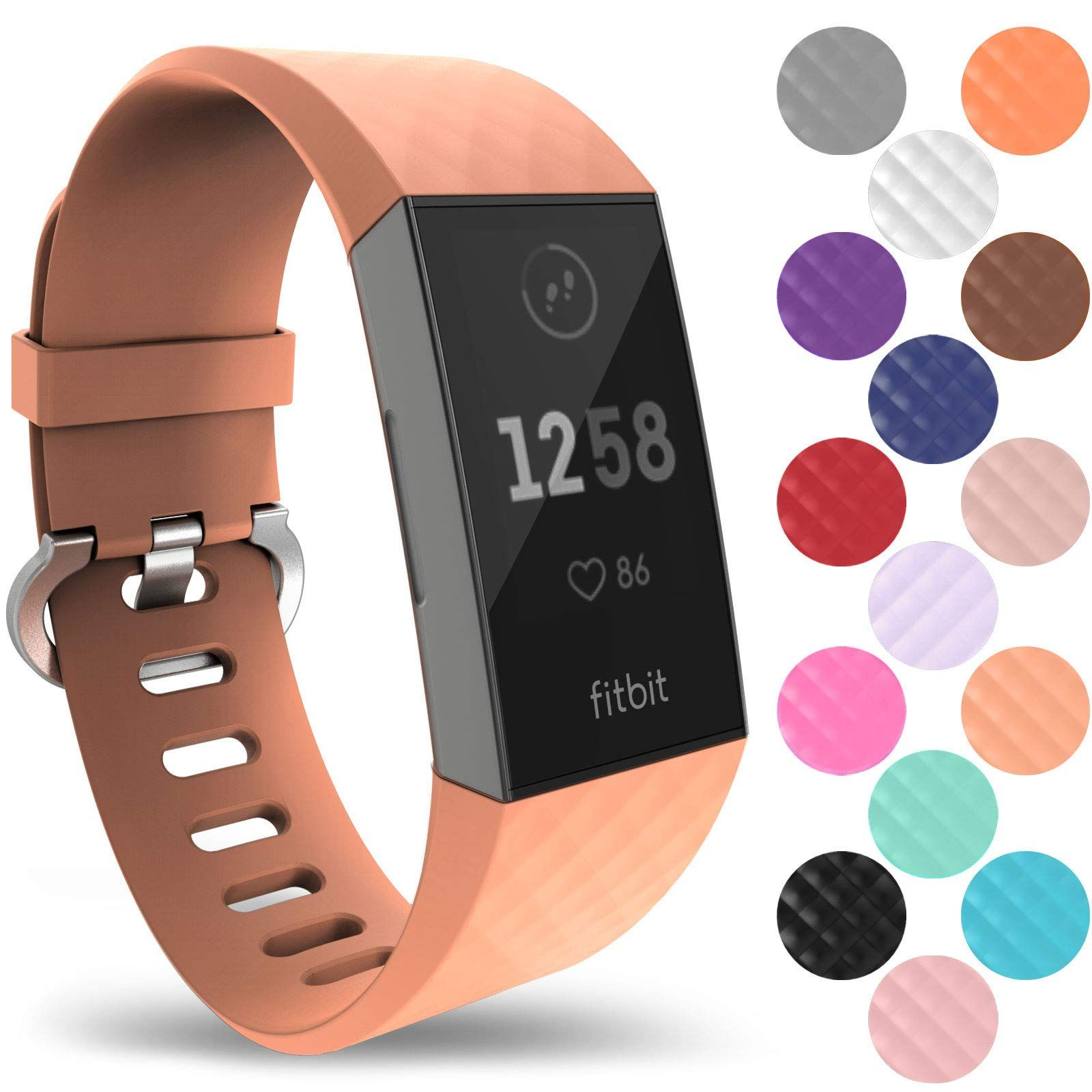 Yousave Accessories Fitbit Charge 3 Bands Replacement Silicone