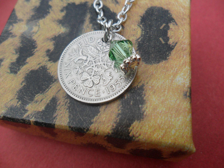 Nice 60th Birthday Present 1959 Half Penny /& Tree Of Life Lucky Charm Keyring
