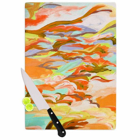 "Ebi Emporium ""Still Up In The Air 5"" Yellow Orange Cutting Board"