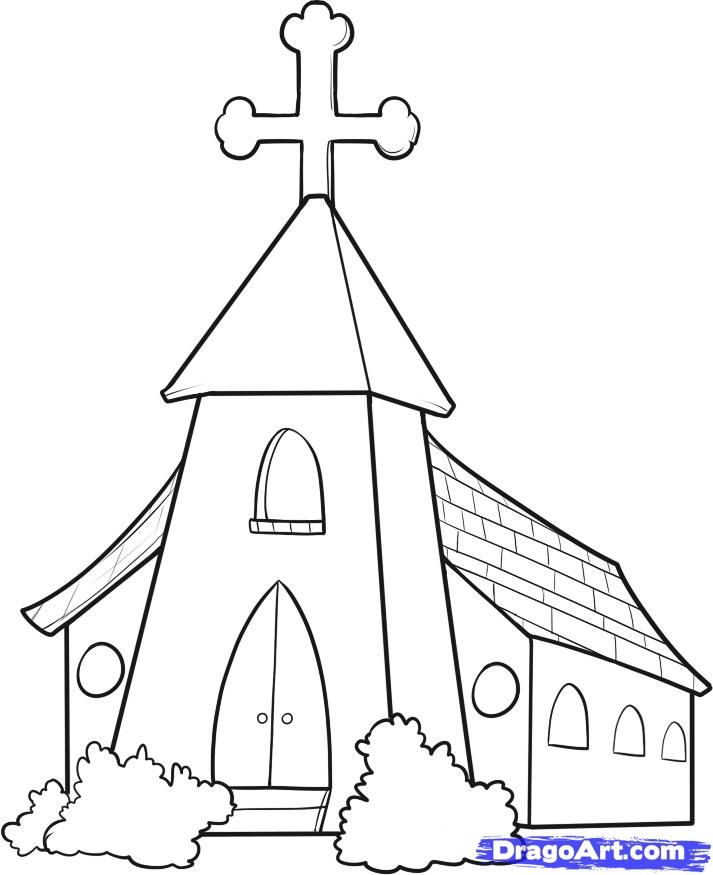 How to draw a church step 7