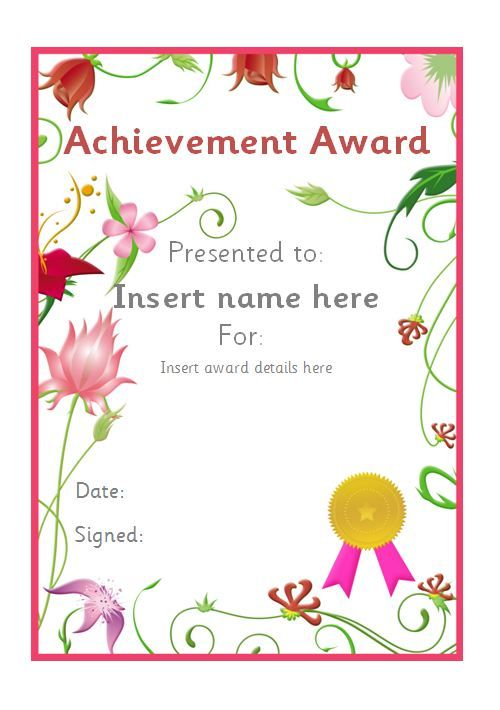 Editable floral themed certificate #teachingresources Editable - certificate of achievement for kids