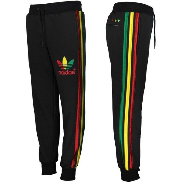 56dbdc489a82 Adidas Original Mens Mega Rasta Fleece Track Pants Jamaica Black Gold... ❤  liked on Polyvore featuring men s fashion