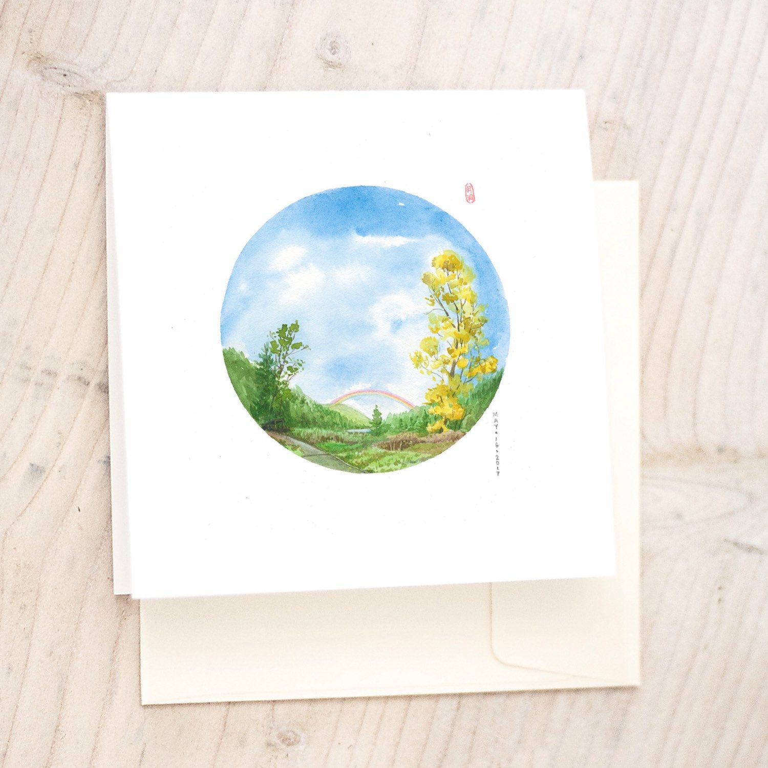 ANY 3 CARDS Greeting card note card birthday card watercolor card