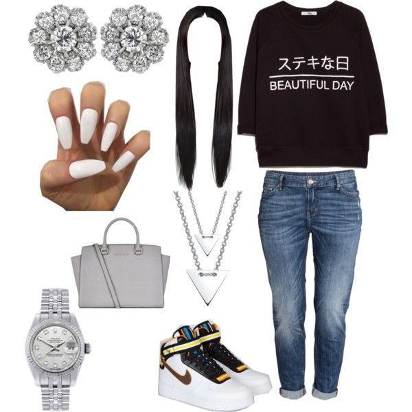 Wrong One by parkerasia on Polyvore featuring polyvore fashion style MANGO H&M MICHAEL Michael Kors kiz&Co. Rolex NIKE