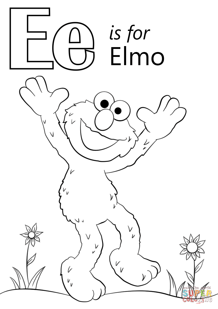 letter e is for elmo coloring page from letter e category select from 27968 printable - Elmo Coloring Pages