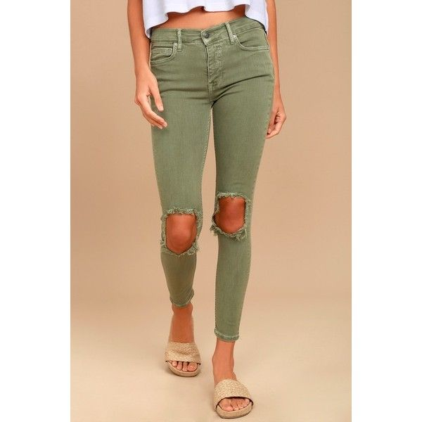 795771084 Free People High Rise Busted Olive Green Distressed Skinny Jeans ($78) ❤  liked on Polyvore featuring jeans, distressed skinny jeans, olive skinny  jeans, ...