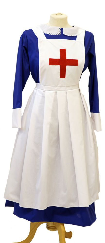 Victorian//WW1 WWI Red Cross style Nurse Full Apron Uniform Historical Costume