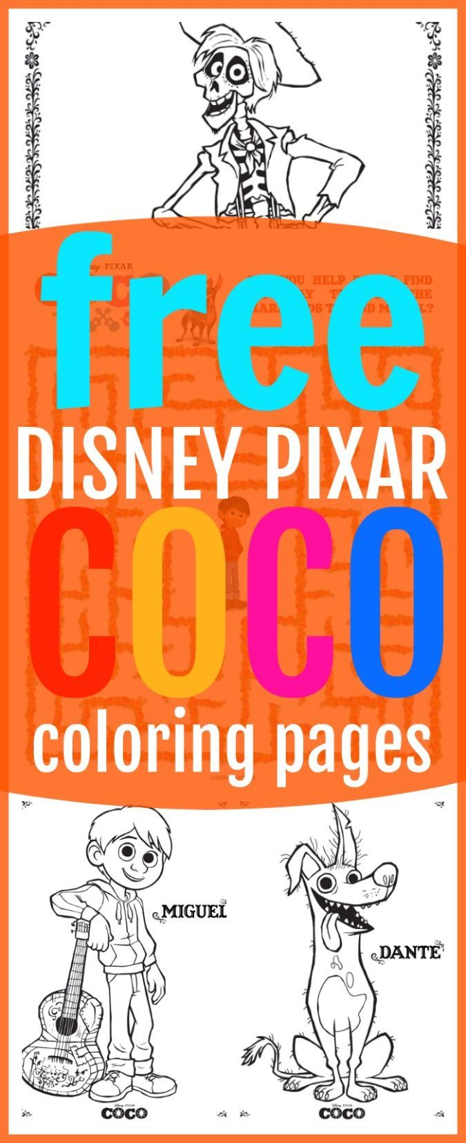 Free coco coloring sheets kids activities pixarcoco kid