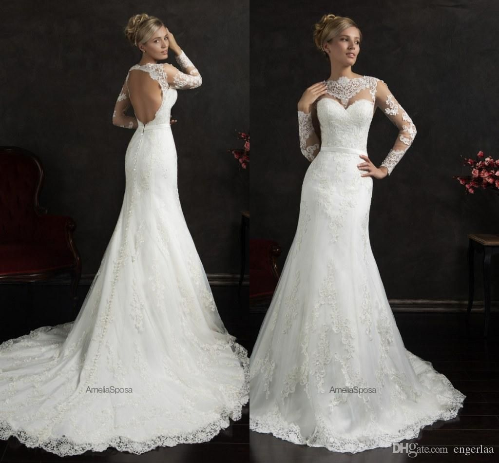 Amelia sposa wedding dresses sleeves long backless wedding