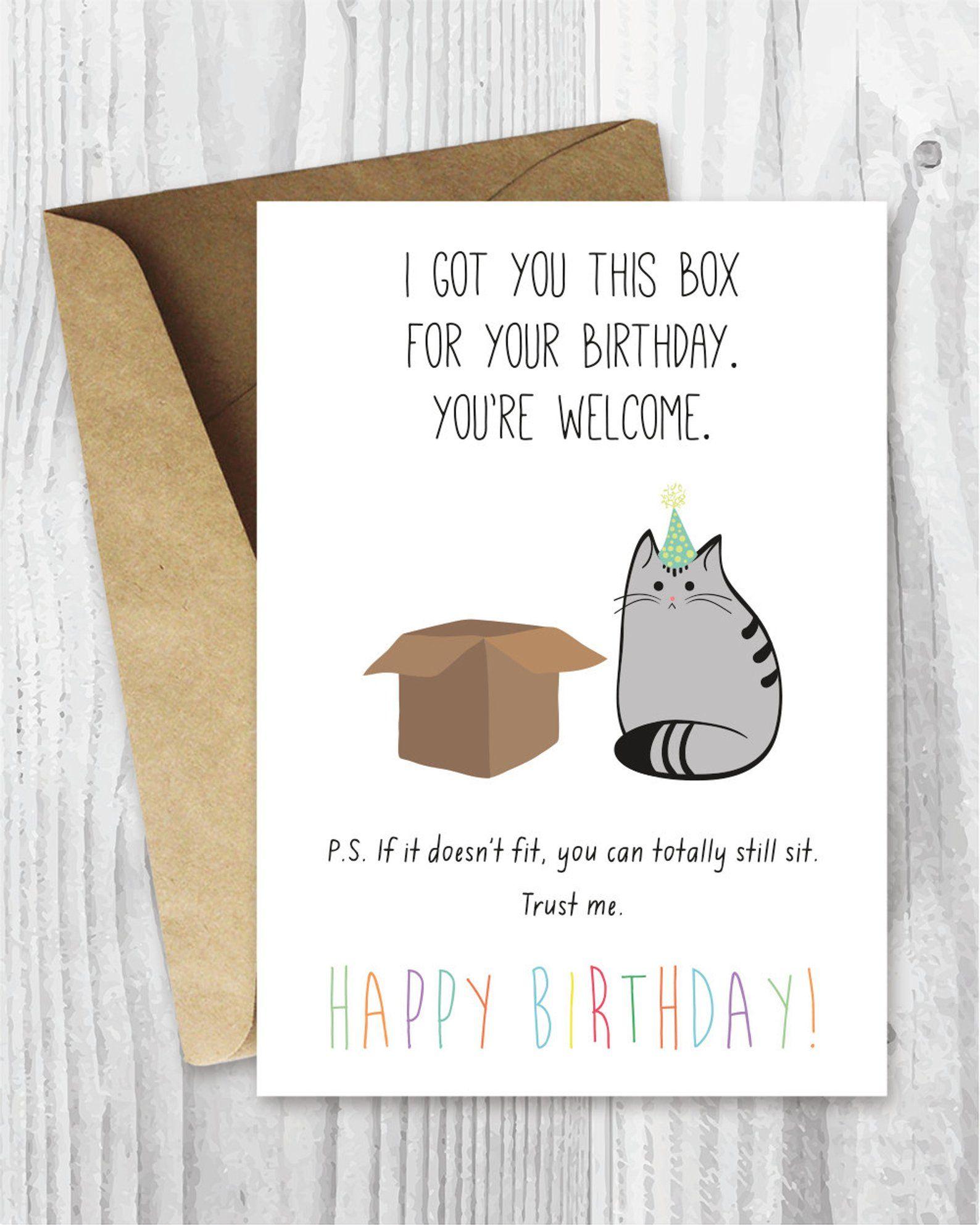 Birthday Card Printable Happy Birthday Cat Digital Card Etsy Cat Birthday Card Birthday Card Printable Funny Birthday Cards