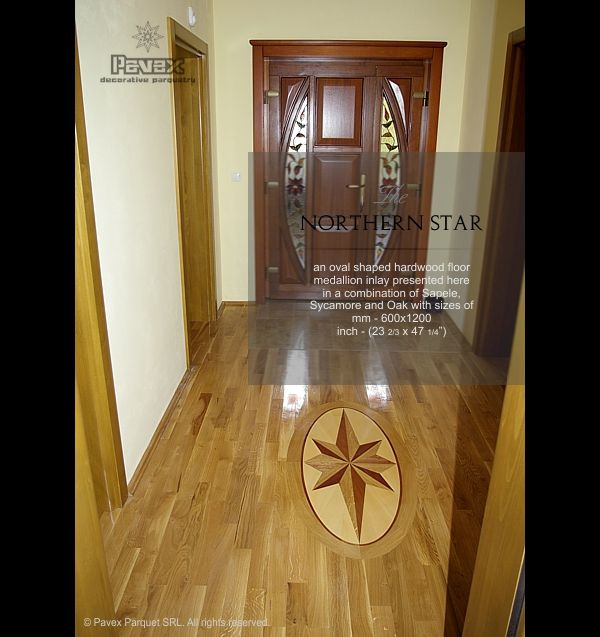 Entry Hall A Hardwood Floor Medallion Complementing The Parquet