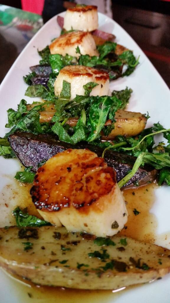 Pan Seared #Scallops over Tri-color Roasted Fingerling Potatoes & charred Baby Kale in a Brown Butter Sauce @ChefOHarra #FlyingRhino #FlyingRhinoCafe #Worcester #Massachusetts #DineWoo #GlutenFree #Foodie #ChefsLife Flying Rhino Cafe - Worcester, MA - www.flyingrhinocafe.com 508-757-1450