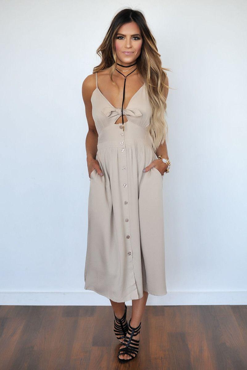 90d3573899e Khaki Tie Front Midi Dress - Dottie Couture Boutique