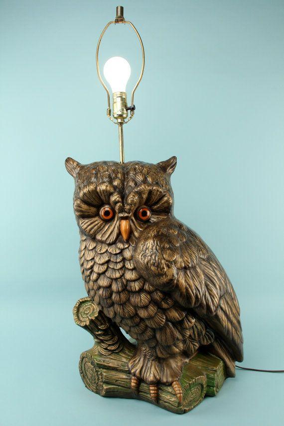 Vintage 1970s Gigantic Owl Lamp Huge Ginormous By MonDesirVintage, $264.00