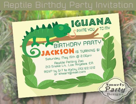 Iguana Birthday Party Invite Invitation Leaves Branch Reptile
