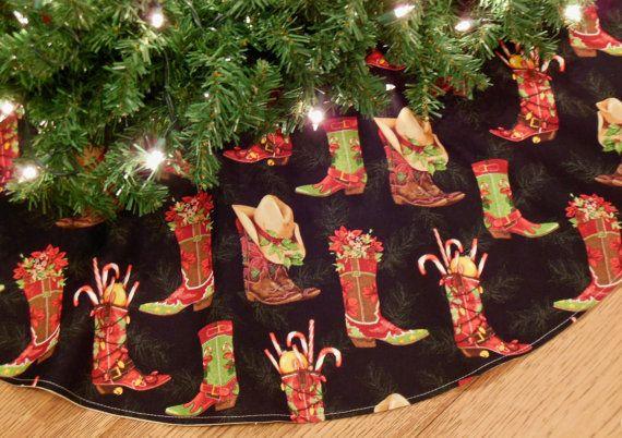 42 Diameter Western Christmas Tree Skirt - Black Cowboy Country