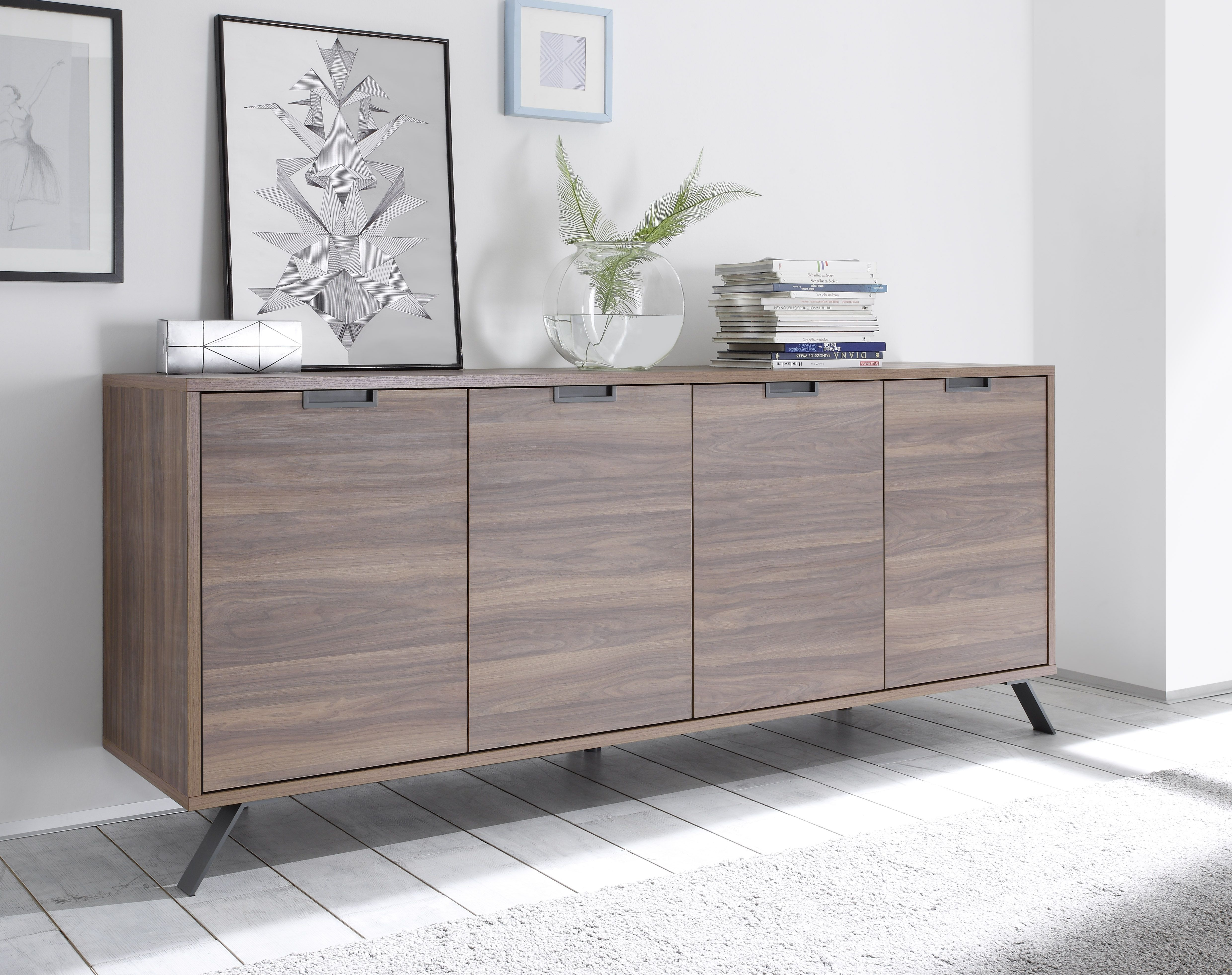 Highboard Tv Palma 4 Door Sideboard Walnut In 2019 Foyer Sideboard Walnut