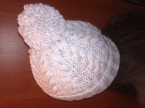 Зимняя шапка спицами+как связать шапку с помпоном для начинающих.Зимняя шапка - YouTube