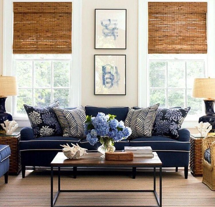 Blue Sofa White Piping Hamptons