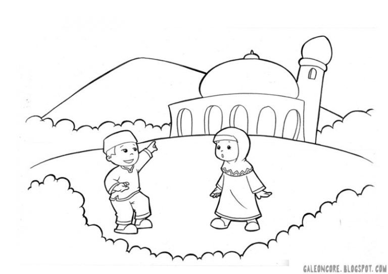 Sketsa Gambar Anak Muslim Buku Mewarnai Warna Kartun